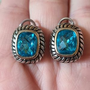 Silvertone Ice Blue Earrings
